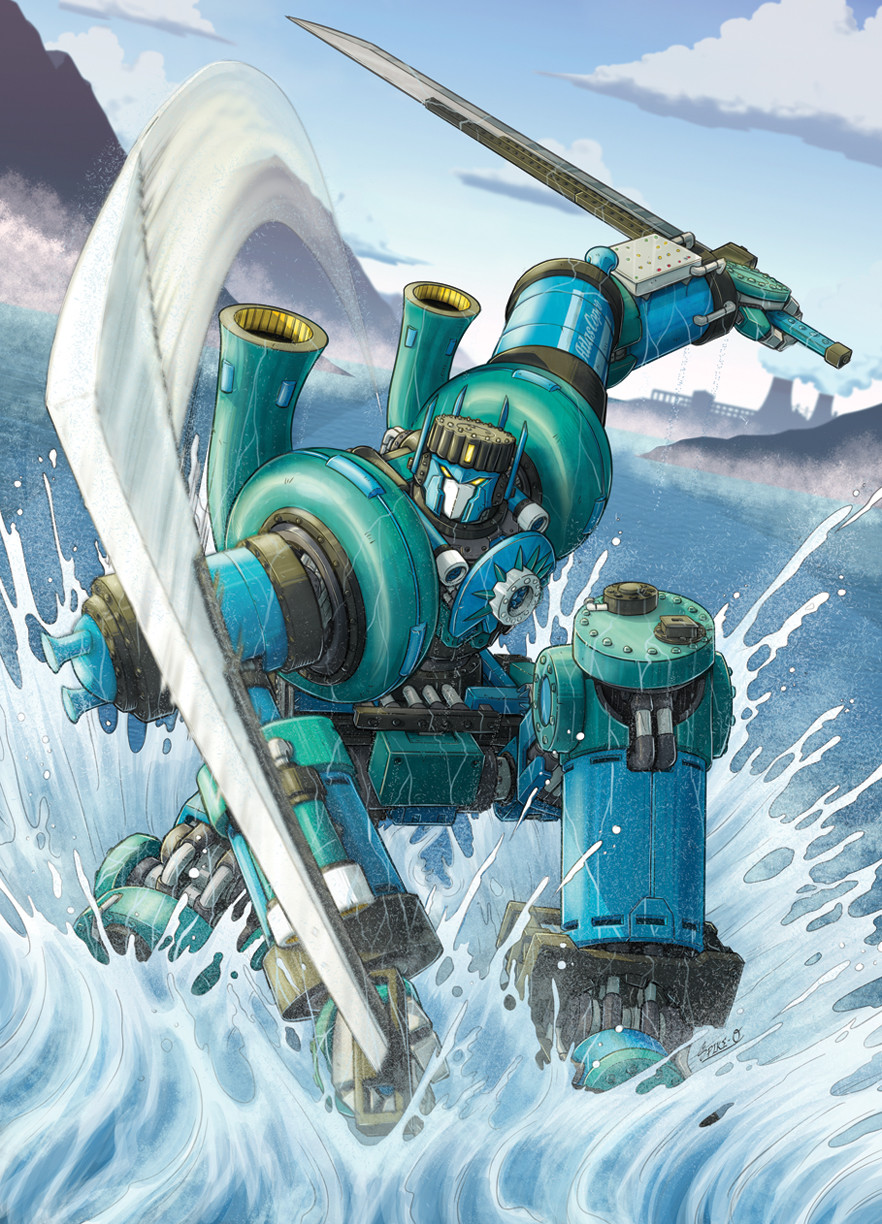 Compander transformer robot. Specializes in marine-based tasks while being highly versatile.