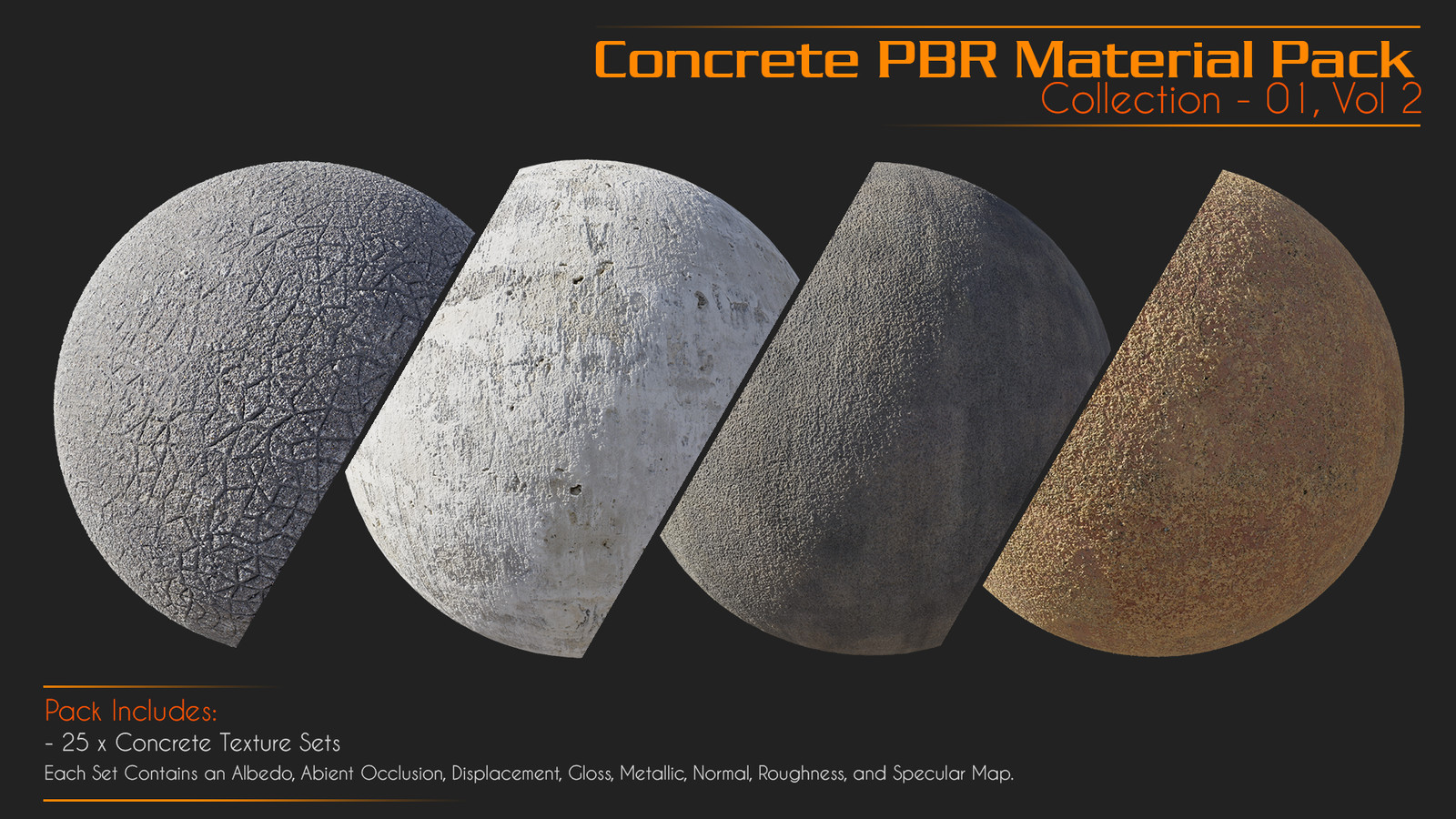 - Concrete Collection - 01 Vol 01 (Containing 25 PBR Material) https://gumroad.com/l/oUuG