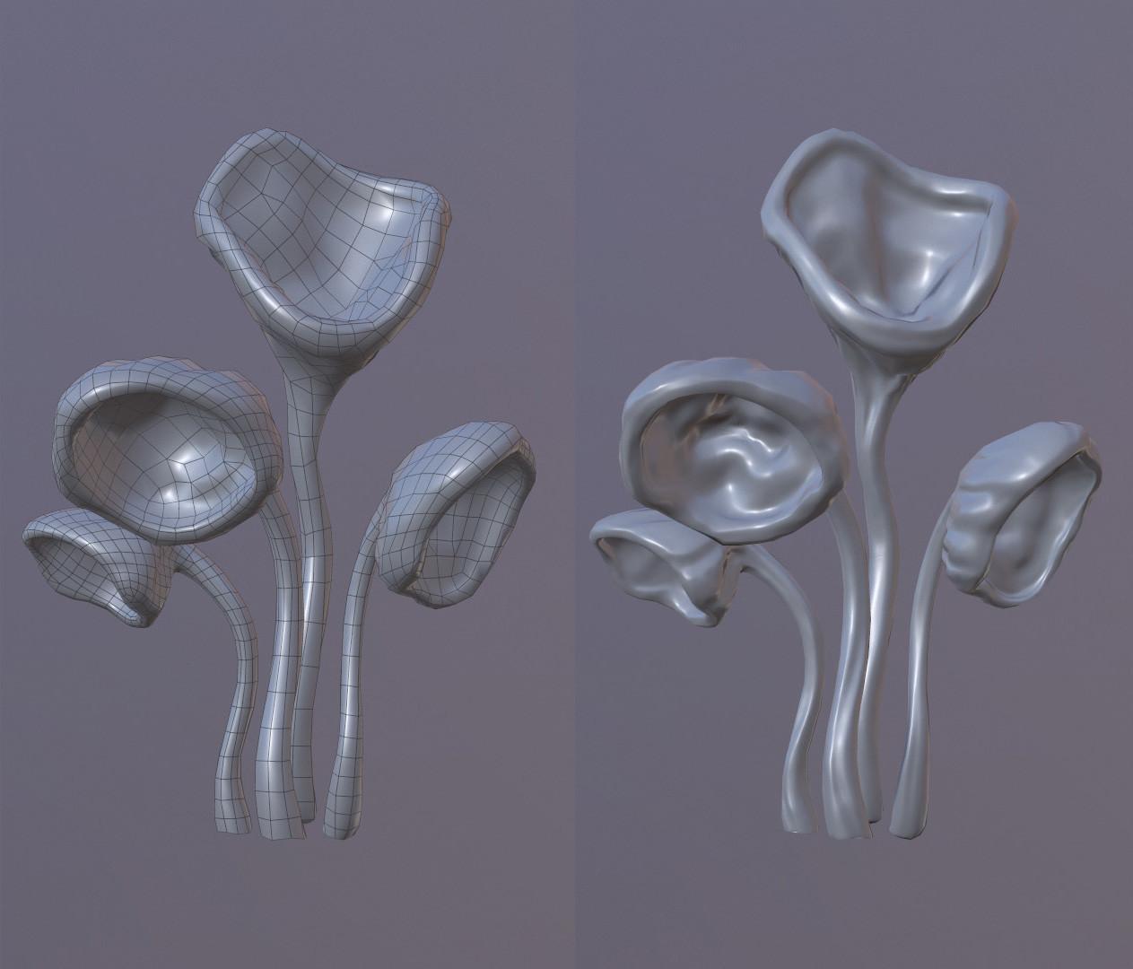 Lowpoly/ Highpoly mushroom