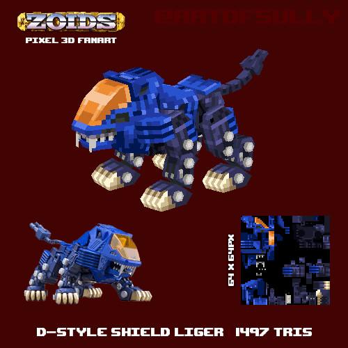 D-Style Shield Liger - ZOIDS Lowpoly Pixel Fanart