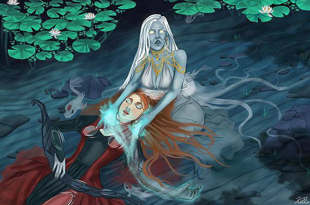 Moon Goddess healing Maia Concept Art