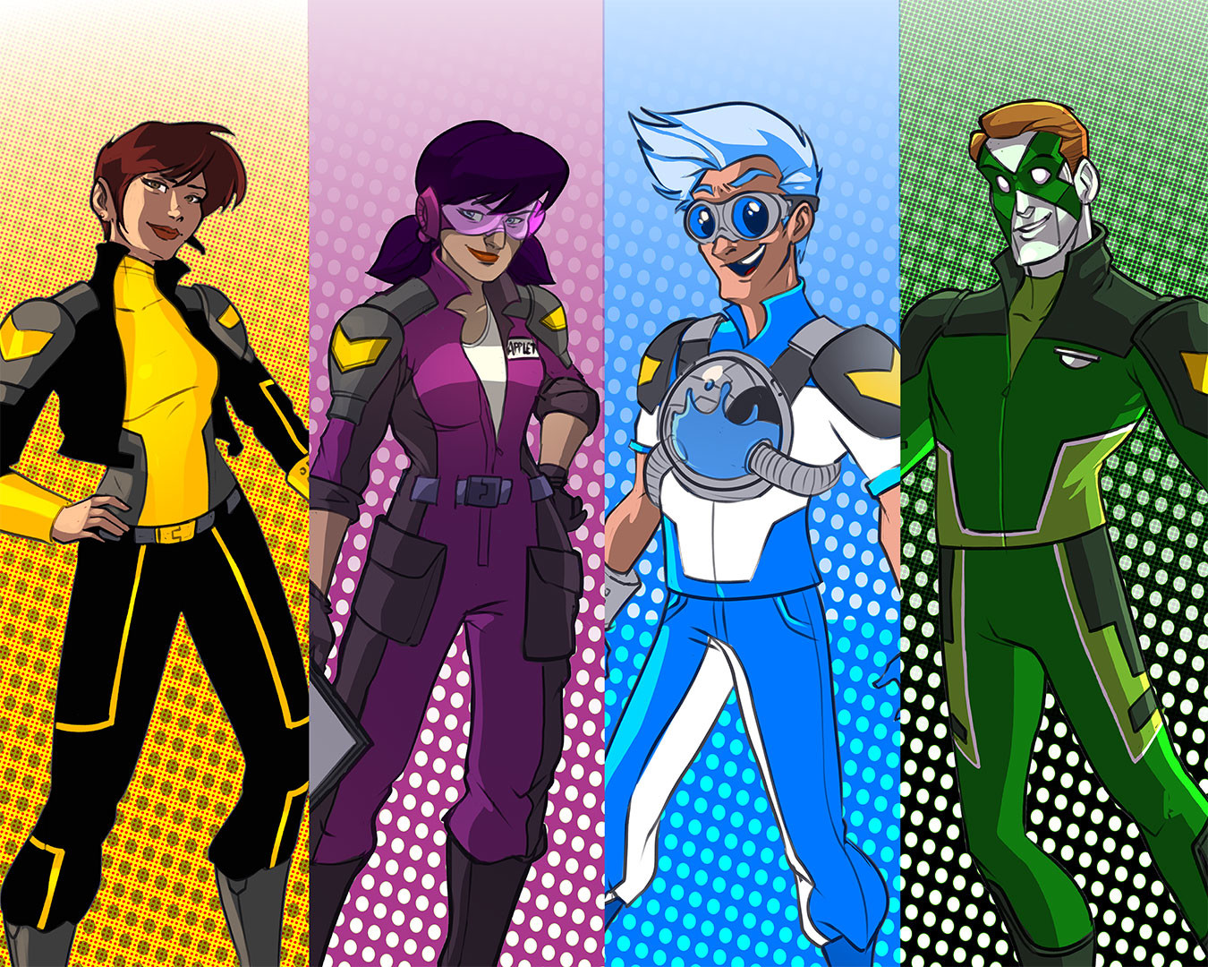 The cast of characters, designed based on the Microsoft Data Insight Product that they respresent. From left to right: Captain Martinez (Power BI), Appletta (PowerApps), Flox (Microsoft Flow), and Xander Cells (Microsoft Excel).