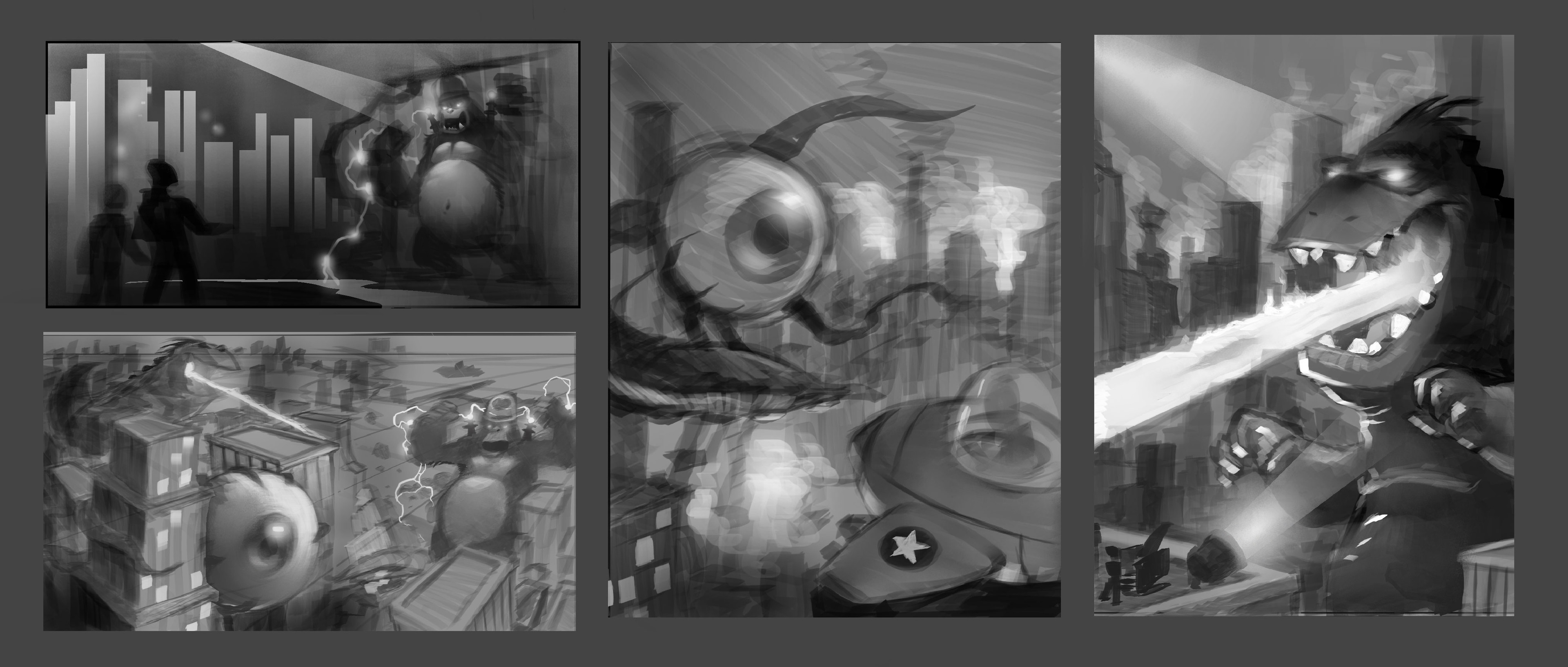 Mood thumbnails to capture the essence of the world, story and feel of the gameplay.