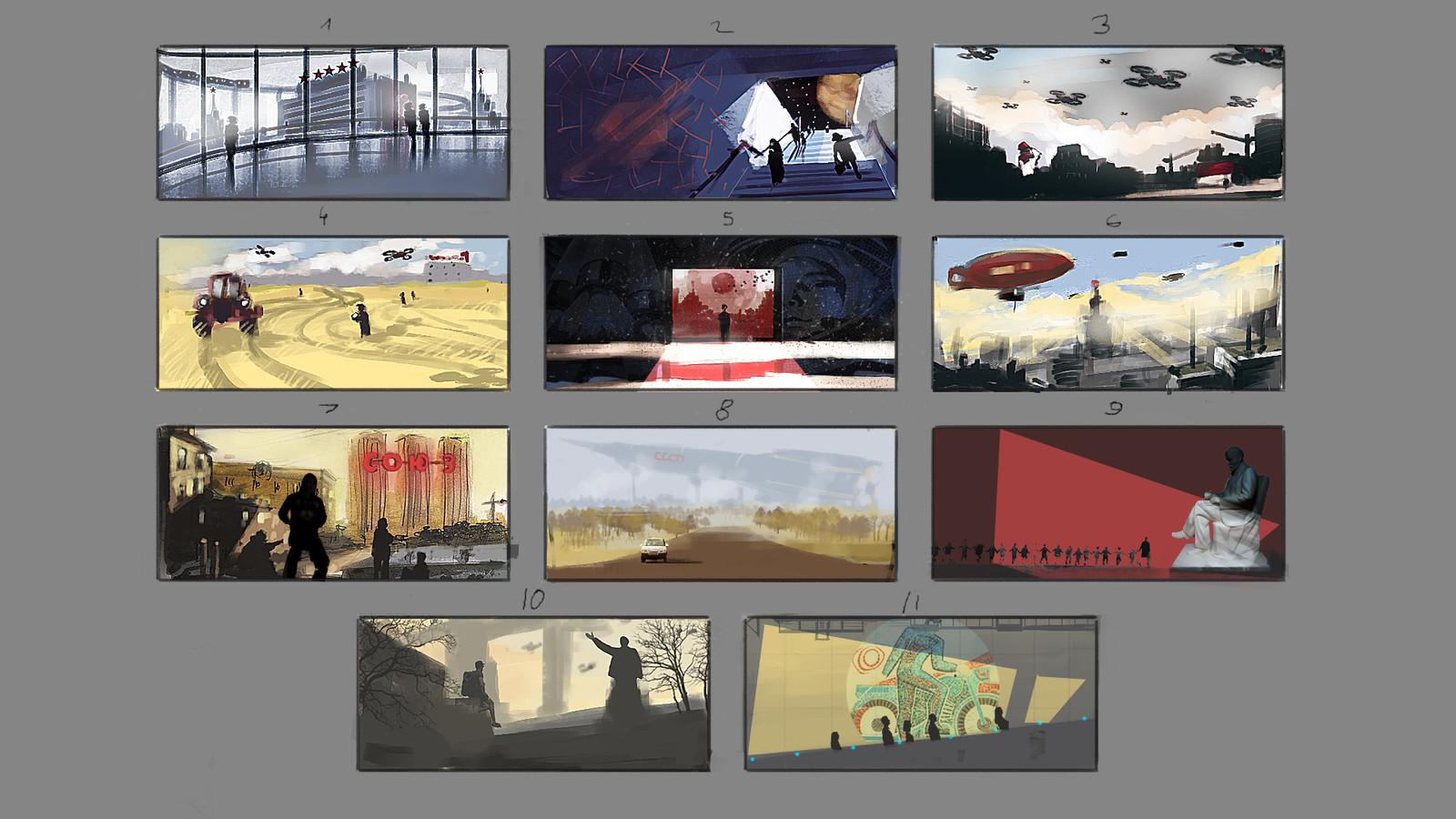 Alternative Soviet Future sets of sketches