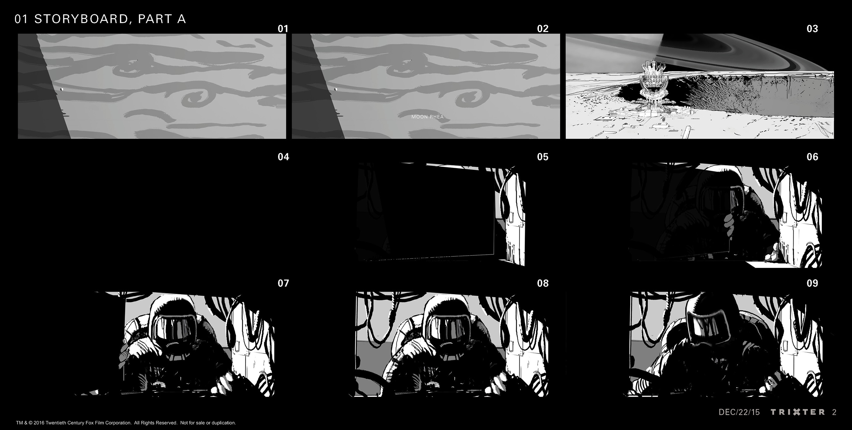 """Storyboards panel were required for the shooting of the live action shots of the sequence of Rhea destruction.  I had the possibility to explore a more graphical """"inked"""" style than my previous storyboards. Sequence storyboard: Part 1 of 5"""