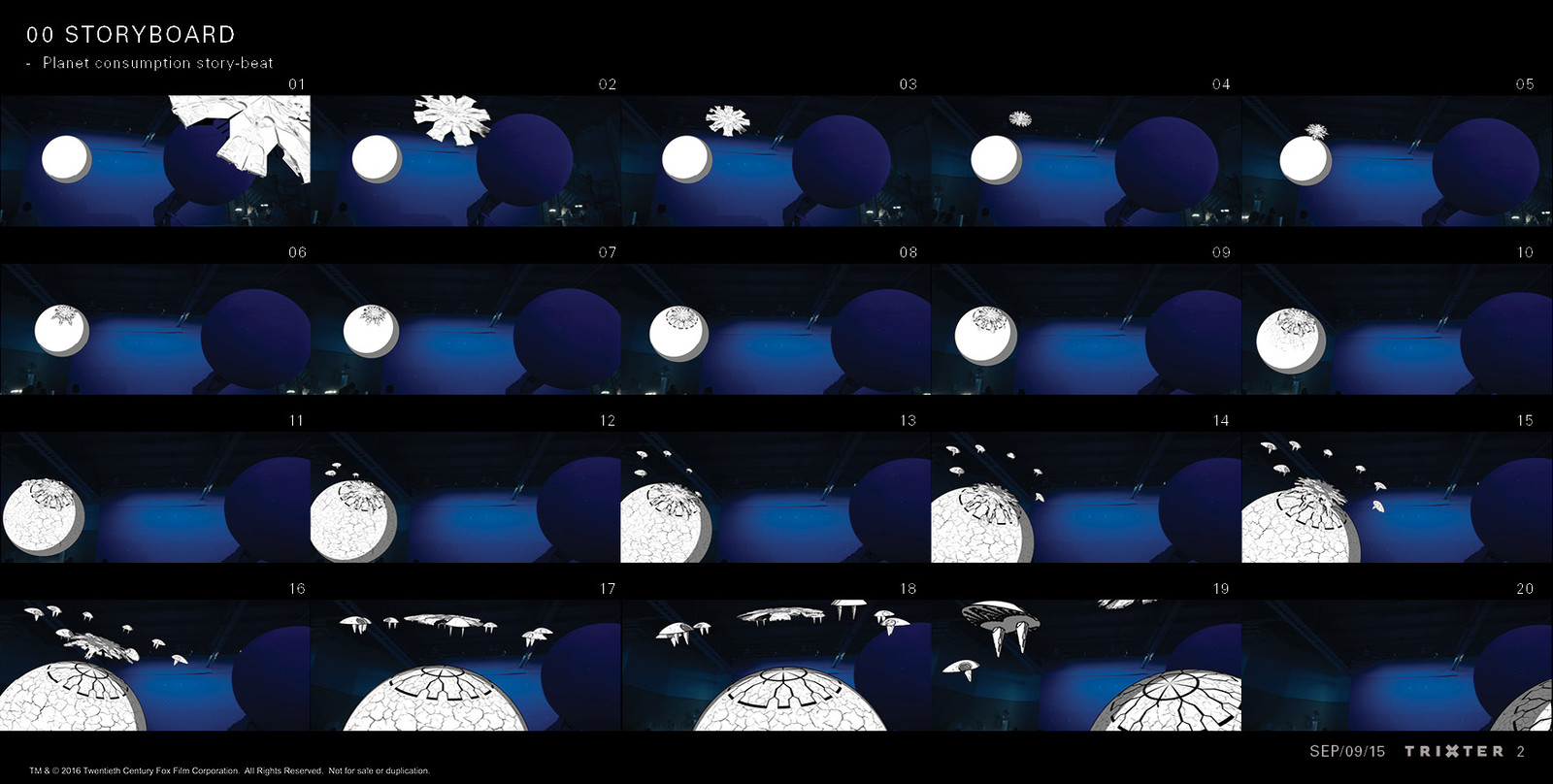 Storyboard for the AI narration in a way less abstract style. Here the story told is the destruction of the AI planet  by the evil aliens' mothership.