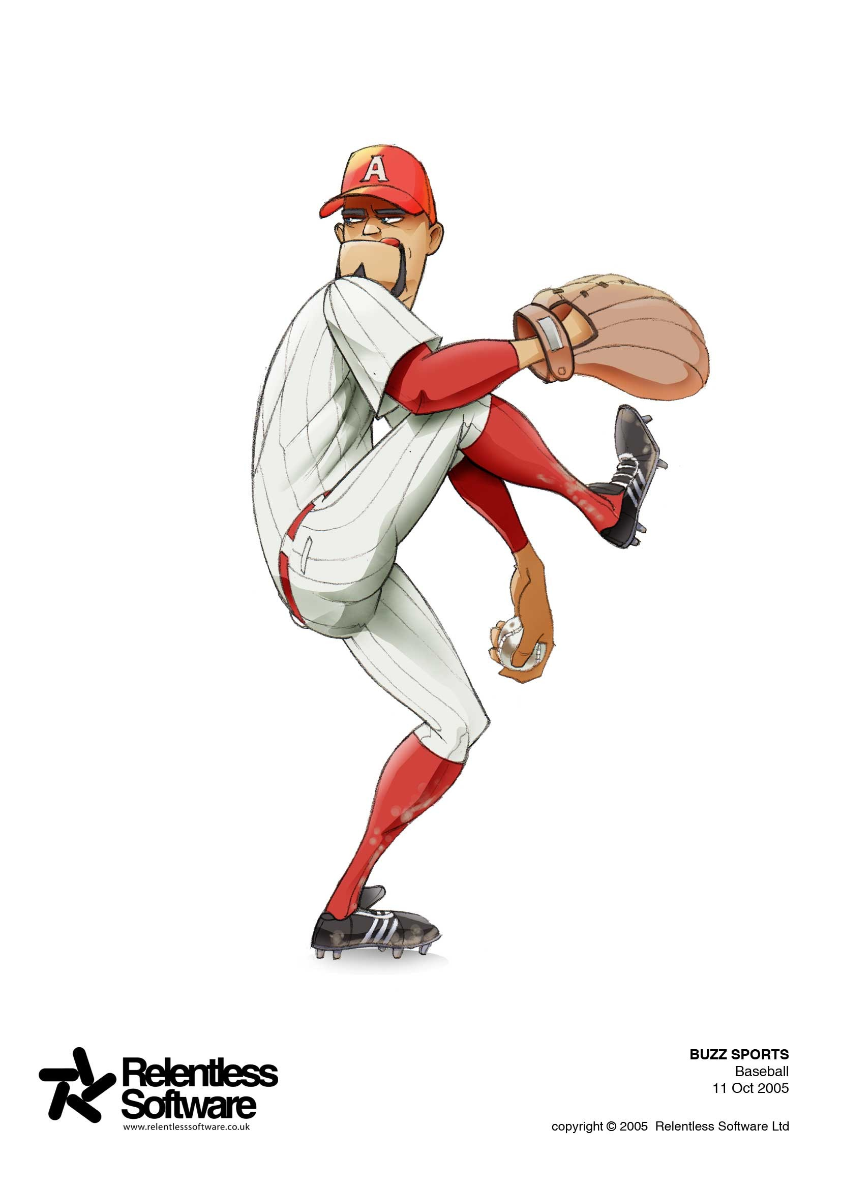 Baseball player concept for BUZZ Game.