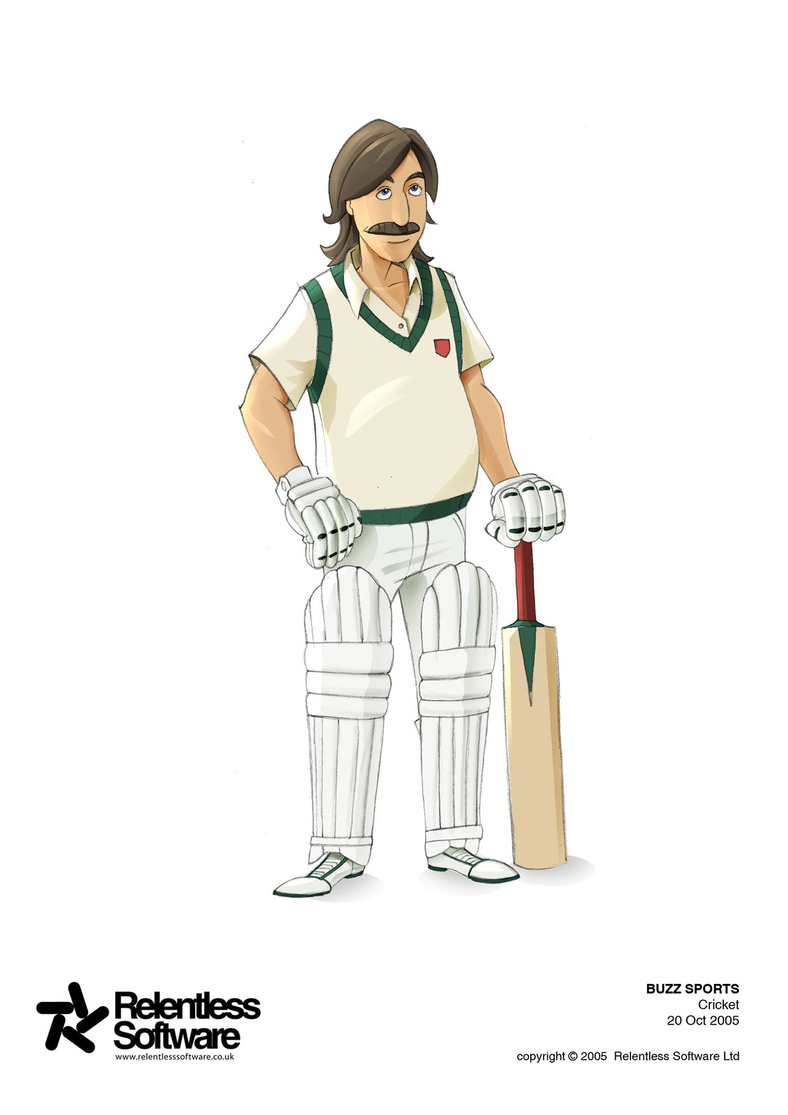 Cricket player concept for BUZZ Game.