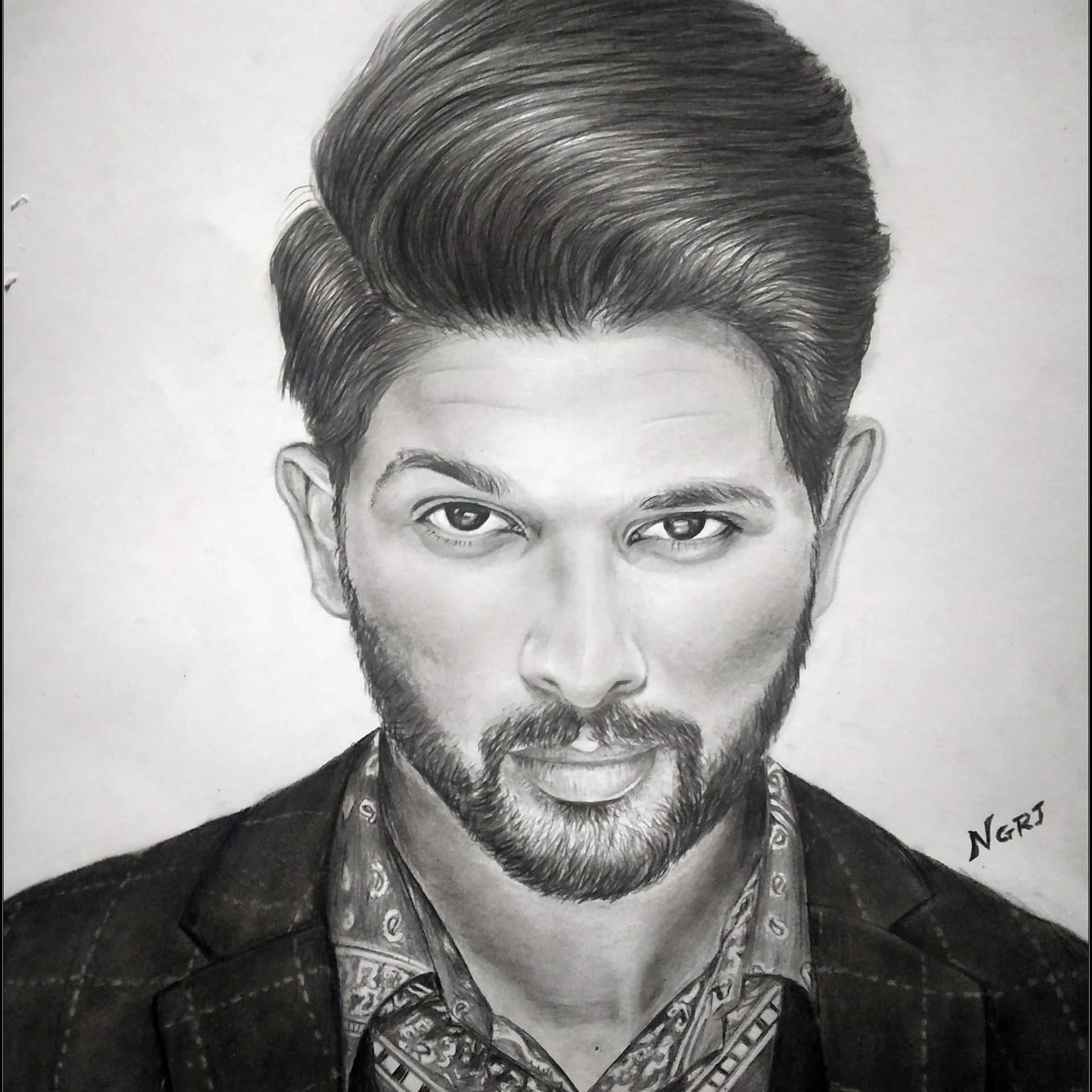 Nagaraj acharya charcoal pencil sketch