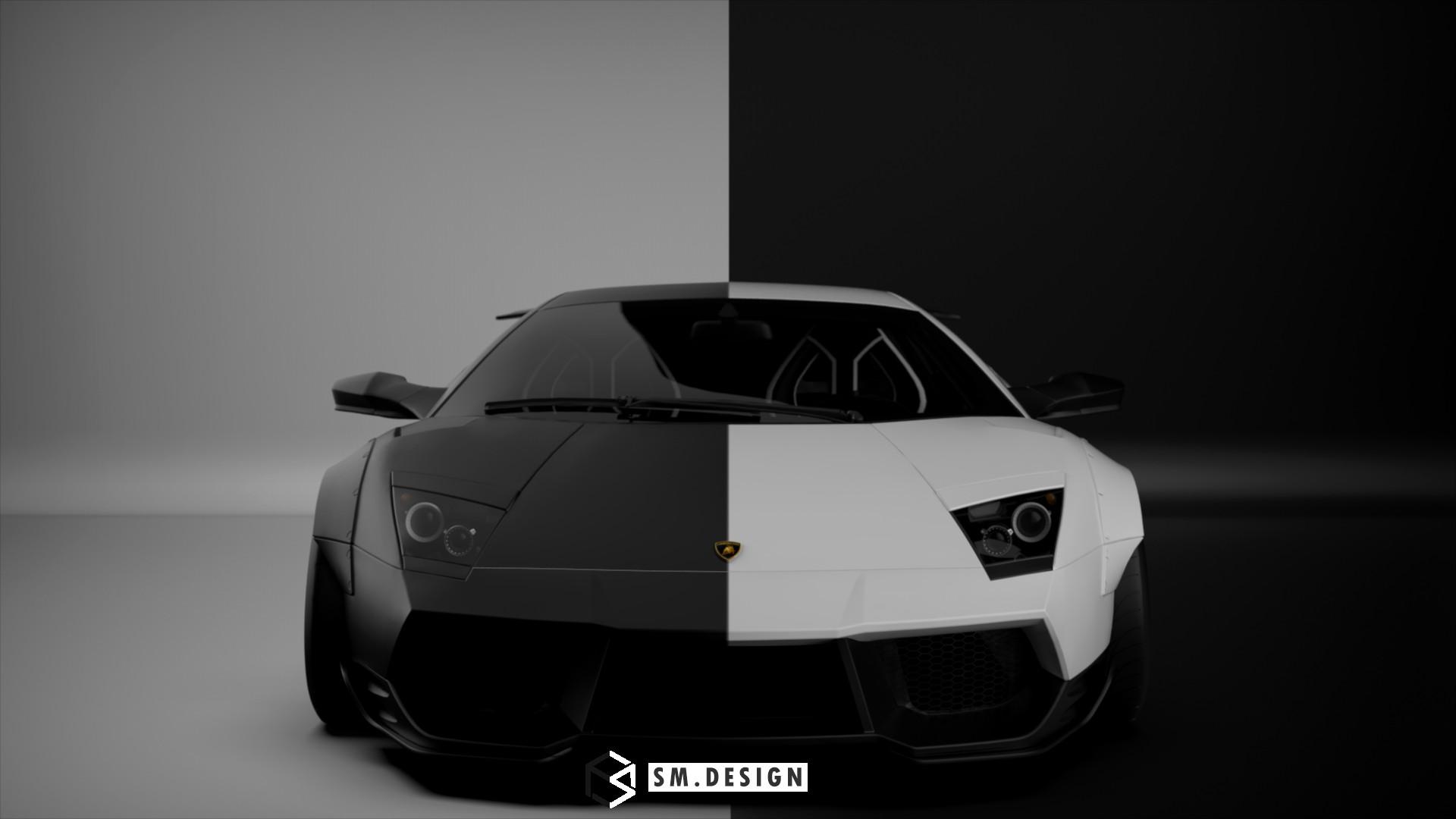 Sm Design Black White Liberty Walk Lamborghini Murcielago On
