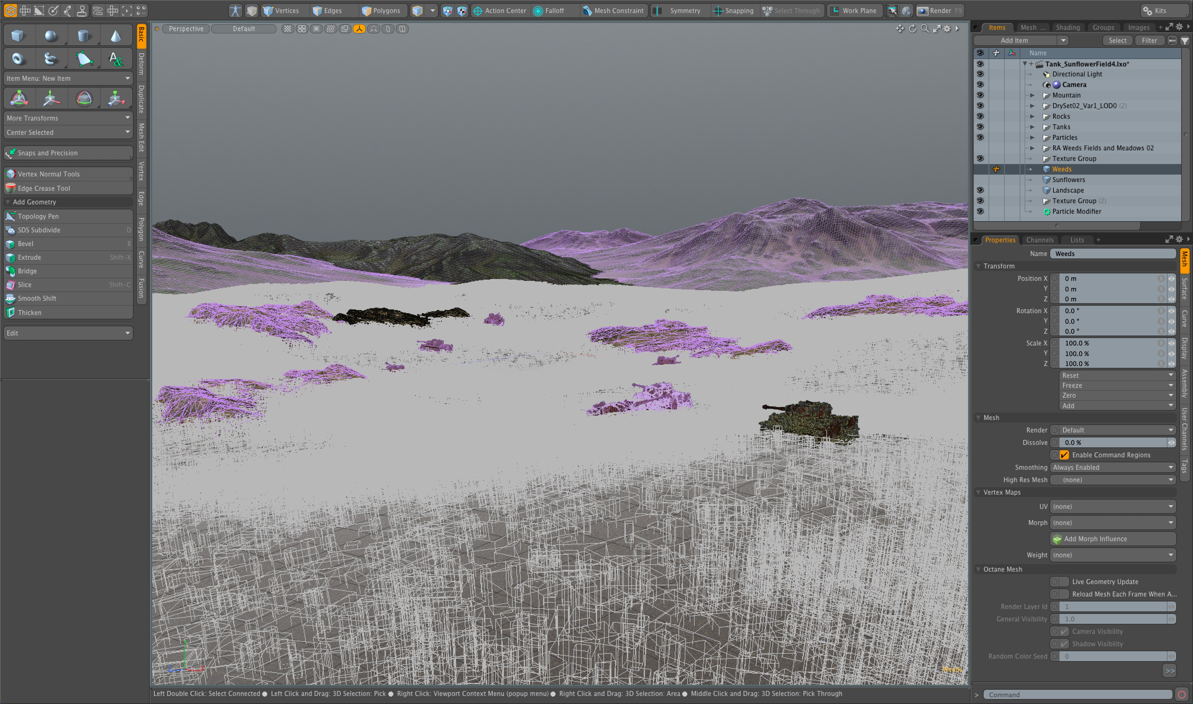 Modo scene. Not really much to see, but it's just a huge number of particle instances (replicators).