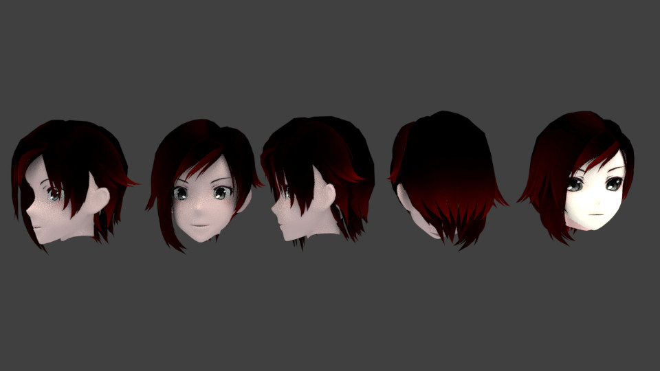 """471 RWBY /""""Red/"""" Trailer Ruby Rose Short Black Red mix Cosplay Wig"""