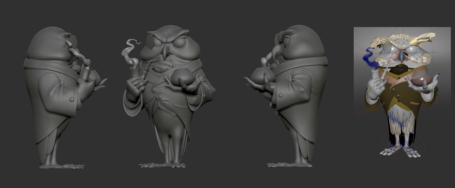 zbrush shots, and the yeti grooms/feathers.