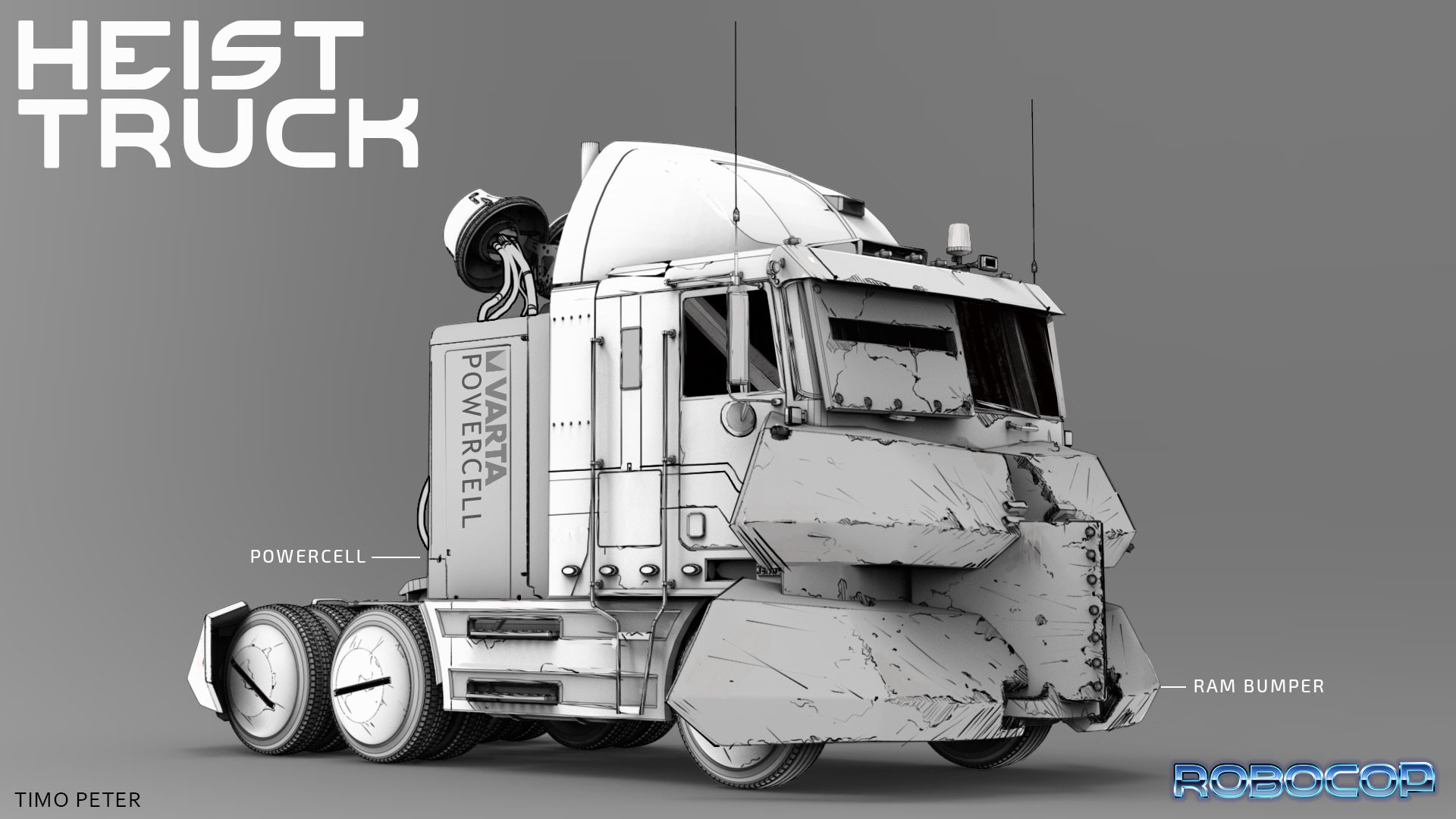The Heist truck.  for some parts of the truck I used a few kitbash parts of klickstop. Check him out on gumroad he has some great stuff there.