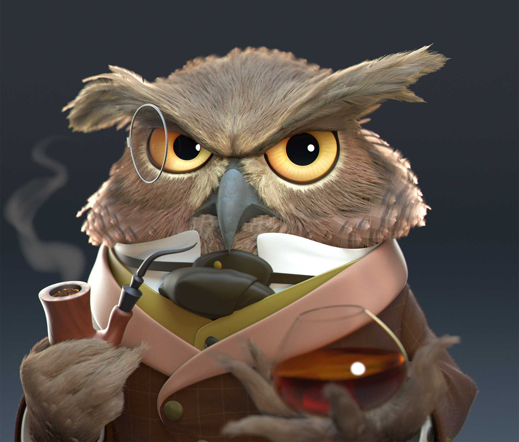 Javier diaz owl closeup view v001