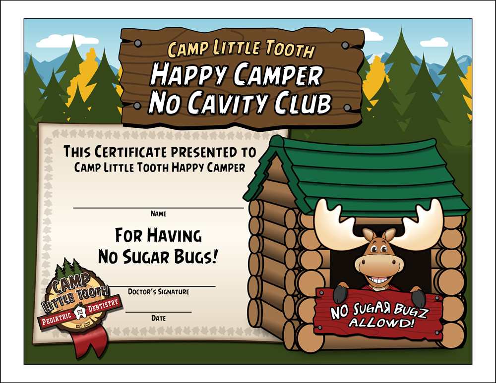 """Camp Little Tooth """"No Cavity Club"""" certificate"""