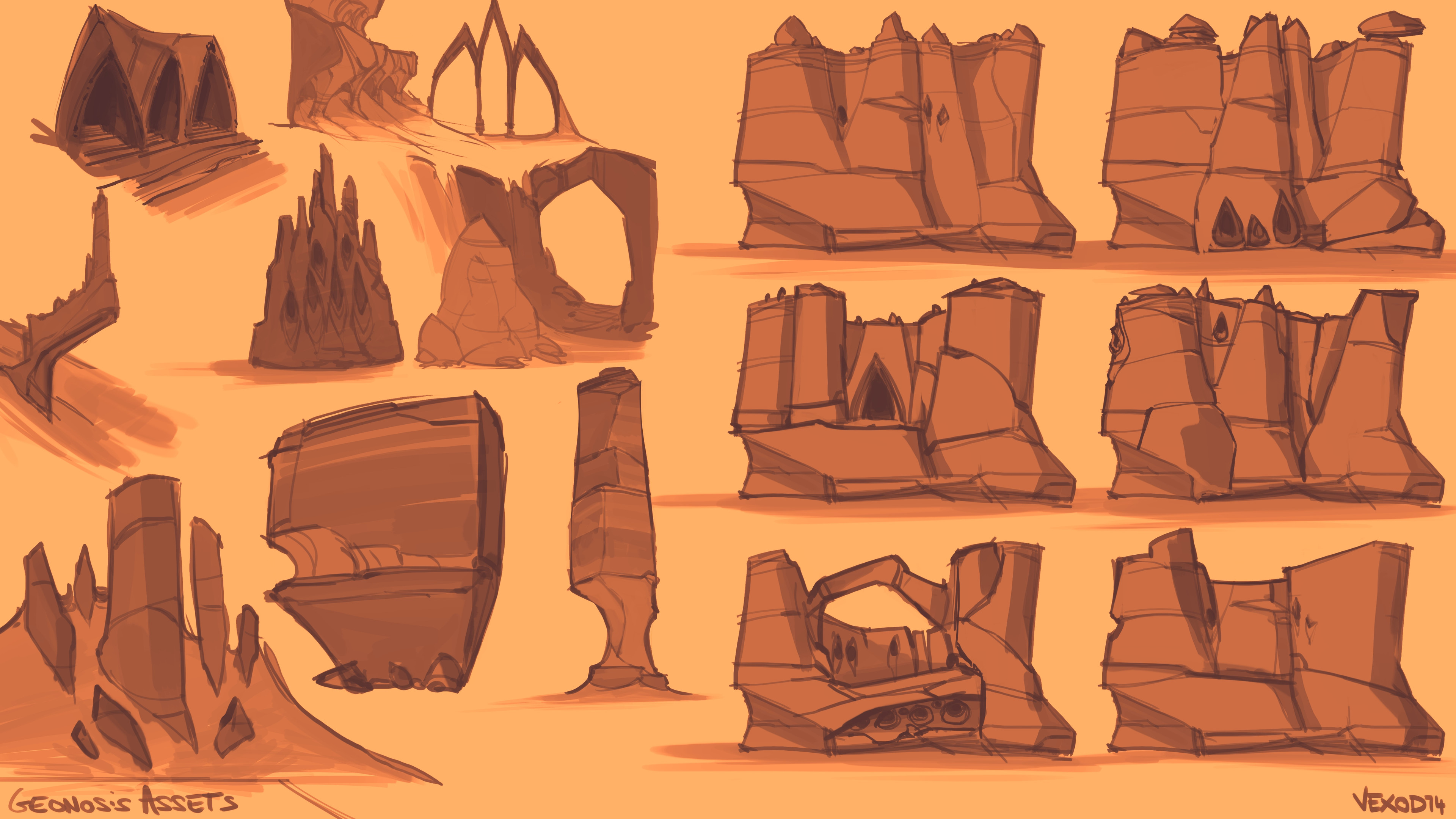 "some concepts to imagine how rocks could be shaped and stylized, I always need to draw before modeling  something to ""speak"" the same language as the object I'm creating/studying"