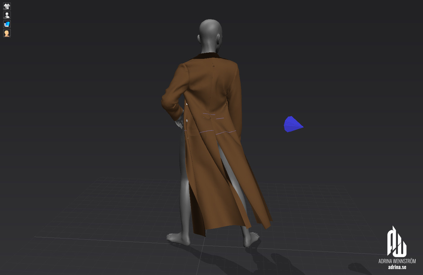 During the simulation of the clothes to its final pose, I added a wind element to bake the coat bellow out from behind.