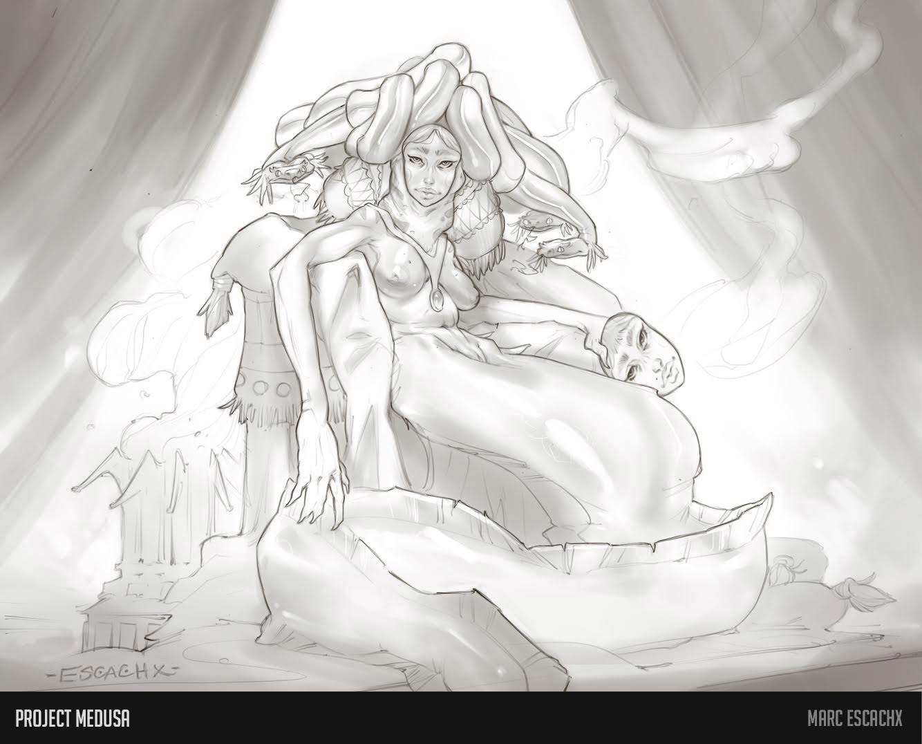Masked medusa concept