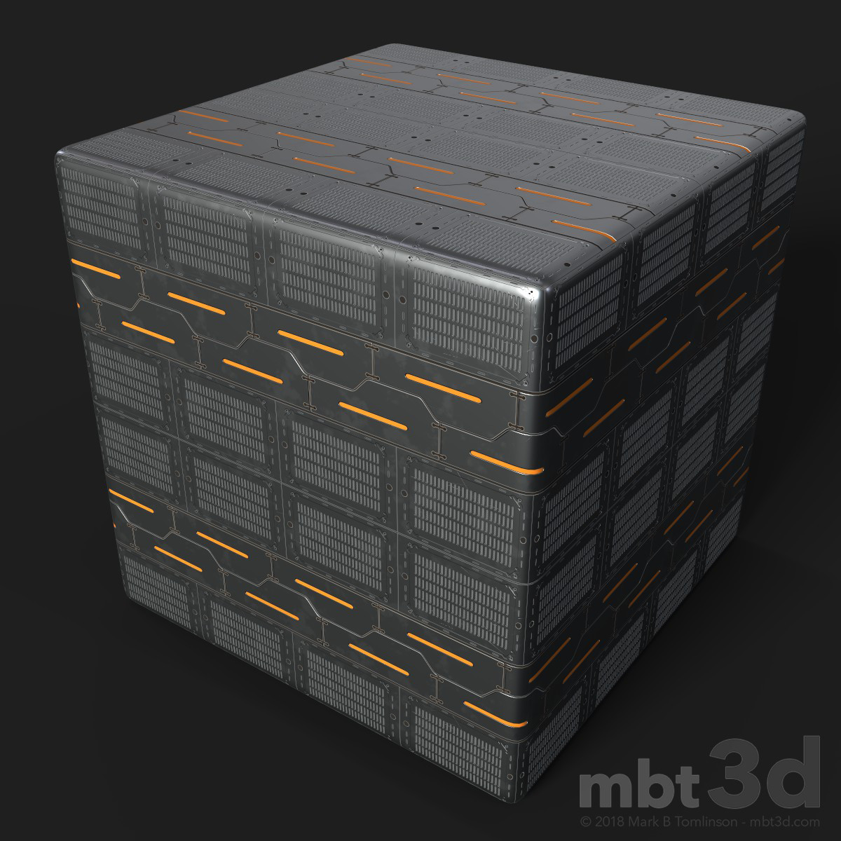 Sci-Fi Plate on Rounded Cube Tiled