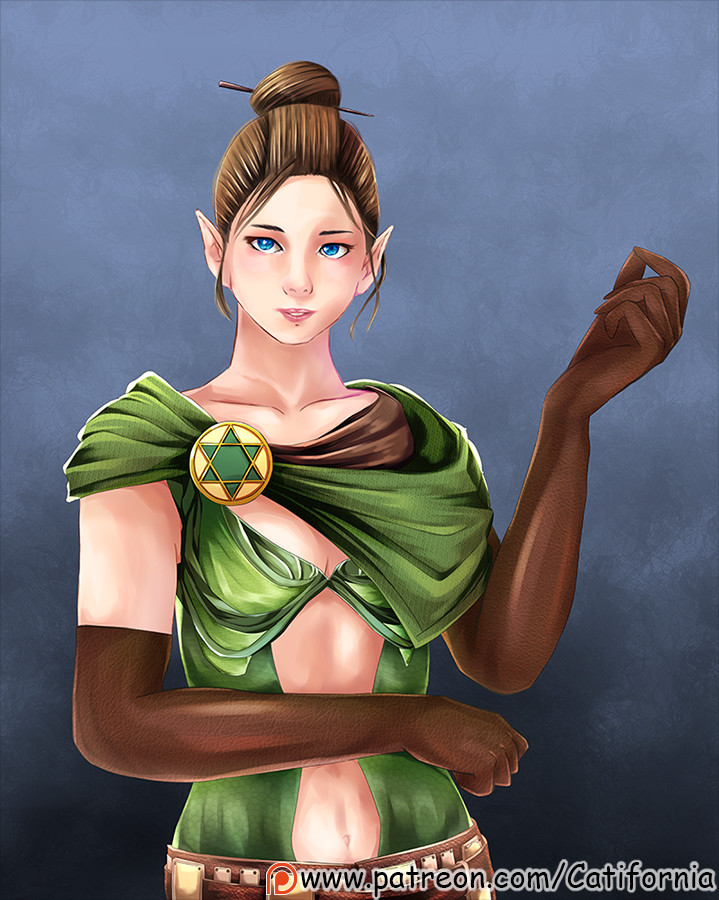 Artstation Female Elf With Blue Eyes Original Dungeons And Dragons Character Cati Fornia