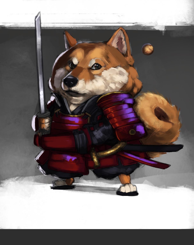 Anthea zammit shiba inu samurai sketch idea