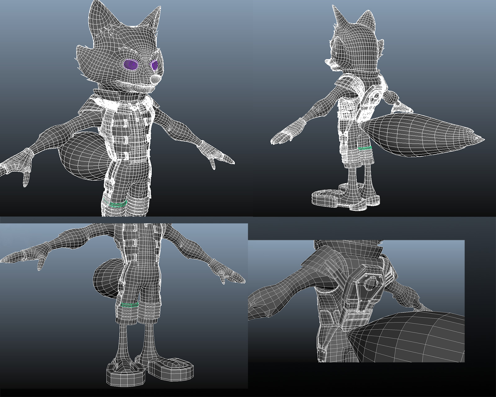 Wireframe screenies from Maya.