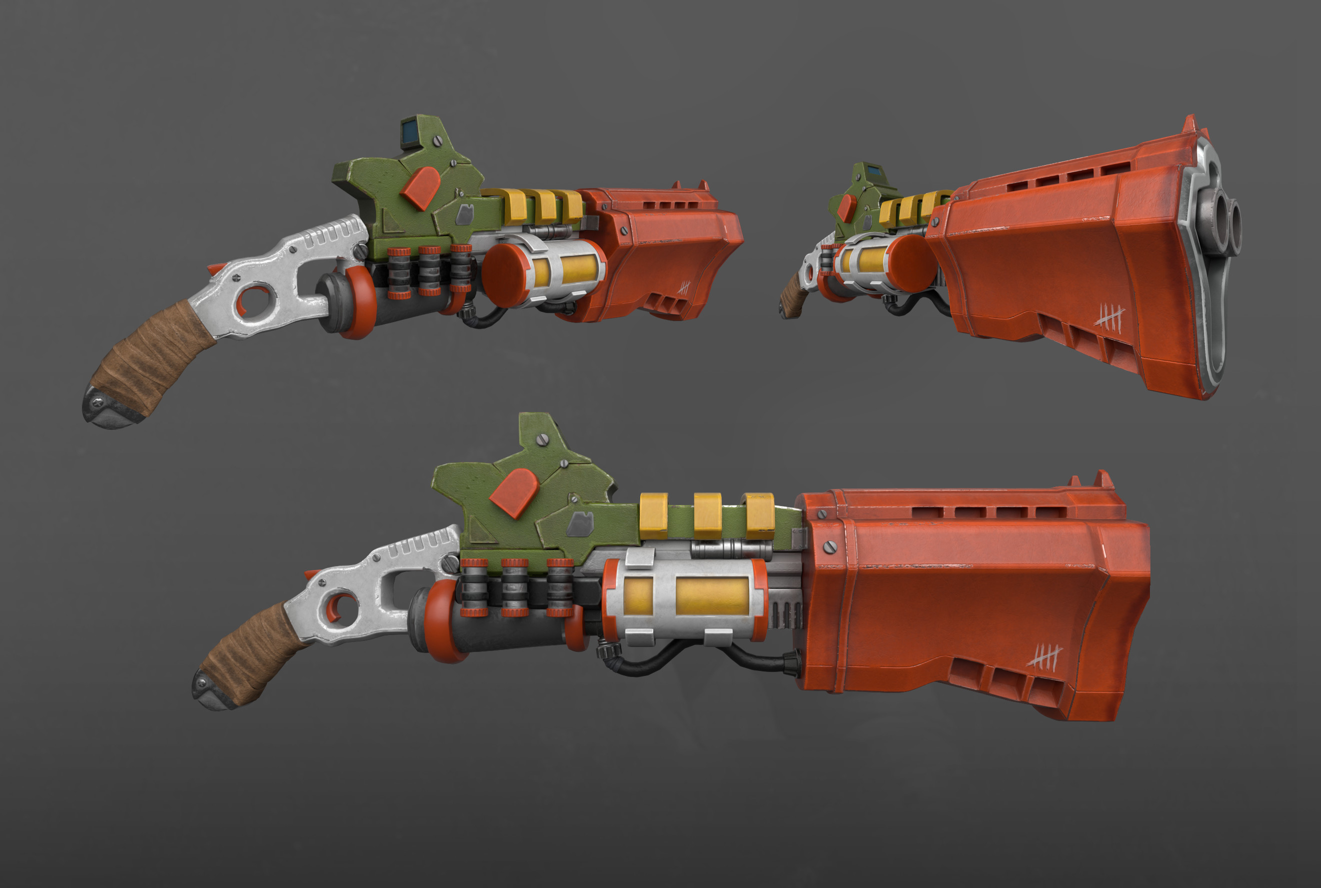 Substance Painter created gun. Loosely inspired by the work of the talented Sergey Vasnev https://www.artstation.com/artwork/r98KL
