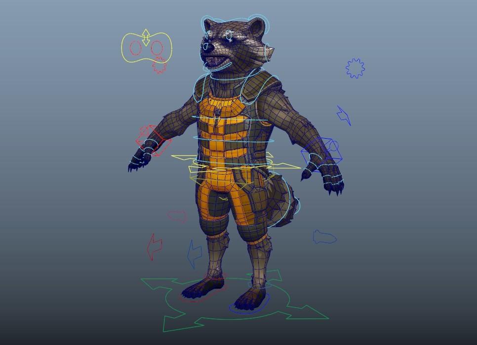 ArtStation - Rocket-Racoon Maya Rigging , Ilya Popov