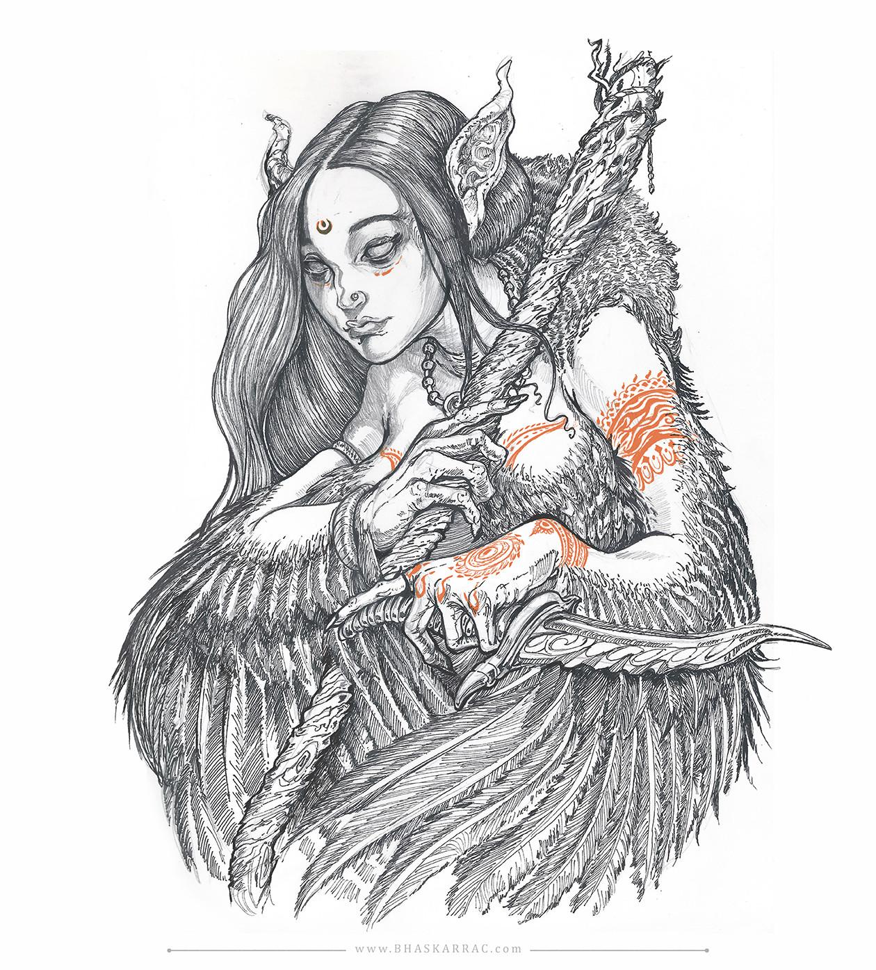 Cursed beauty transforming into a Garuda (female)...