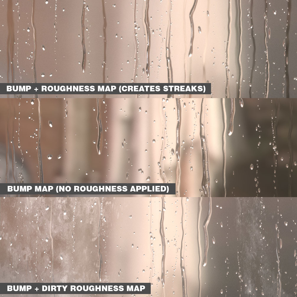 Achieve different looks by using the bump map on its own or with the roughness maps supplied.