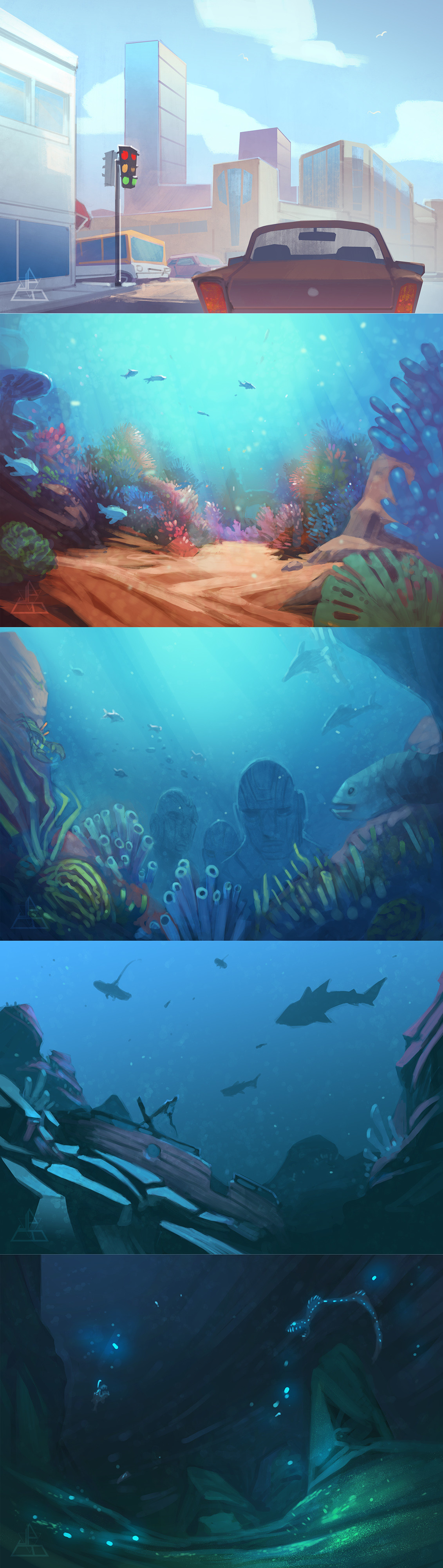 Colour and lighting concepts for surface environment through to ocean floor.