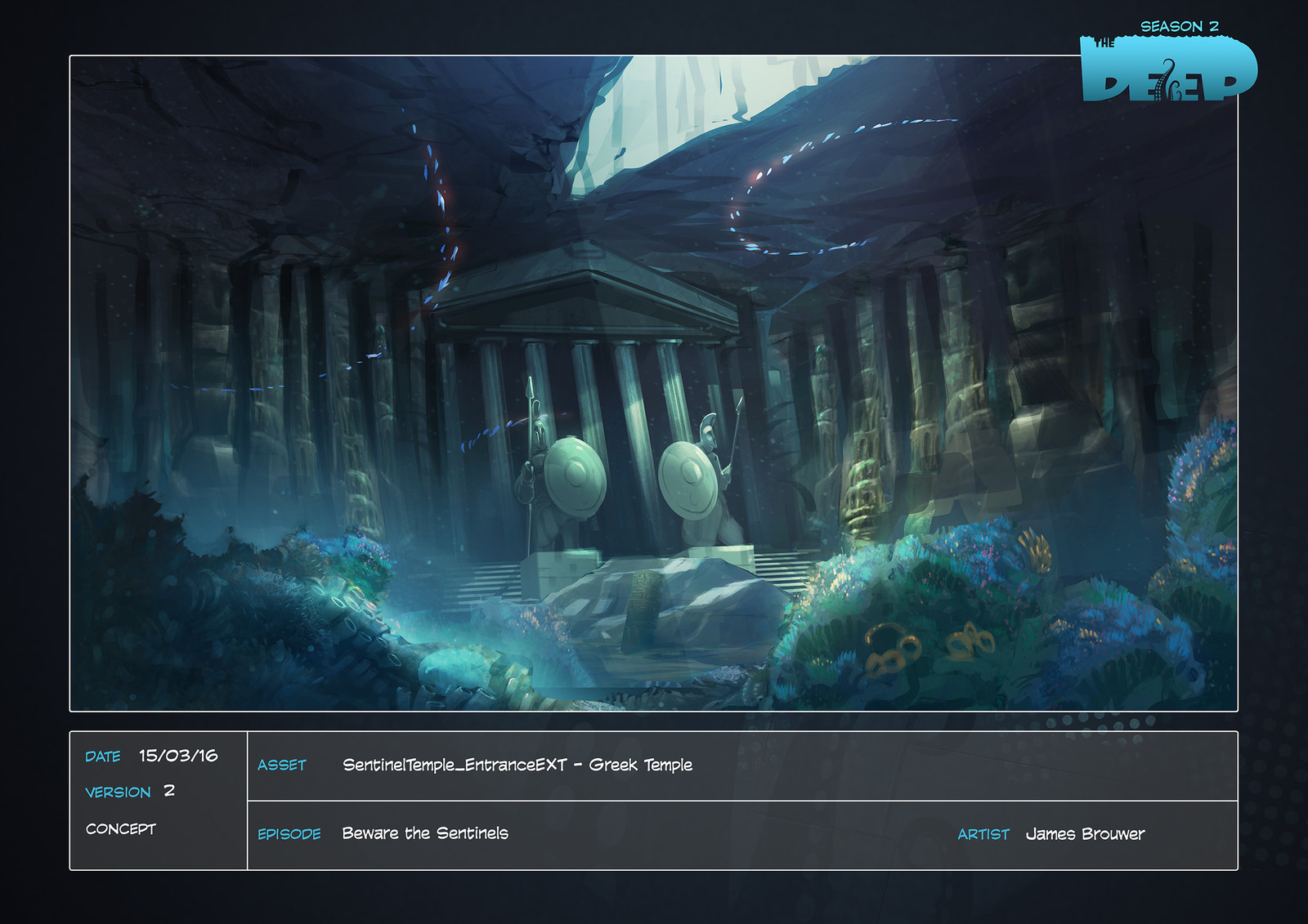 "Concept for the underwater tomb/temple in season 2 episode ""Beware the Sentinels""."