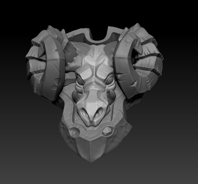 Second sculpt pass (Added teeth and ridges, sharpened face details, and added details to shield.)