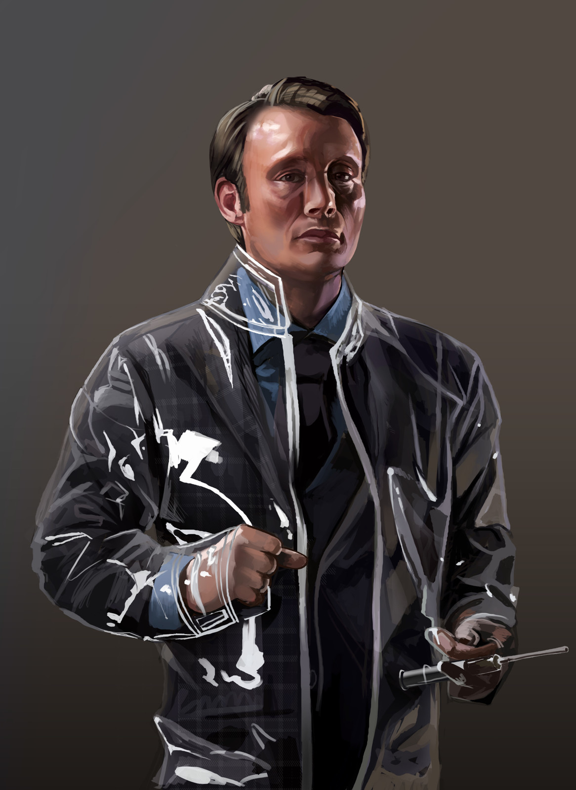 Based on a photo of Mads Mikkelsen as  Hannibal.