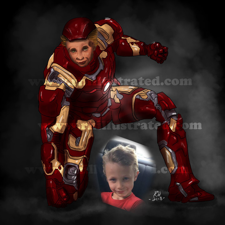 Iron man illustration with boy face illustrated as Ironman.