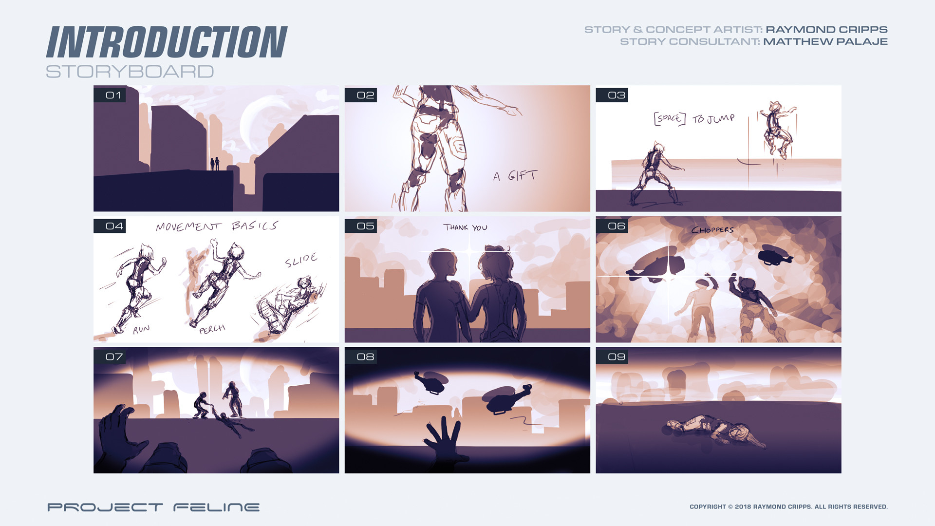 Storyboard for the game's introduction.