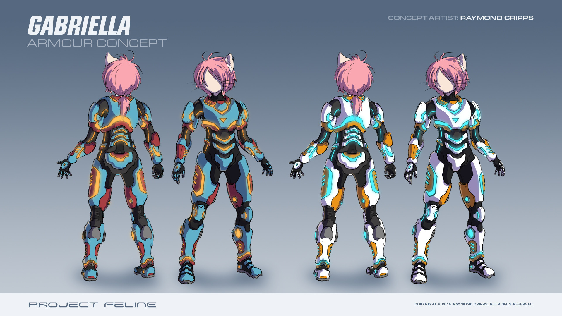 Initial concept for the amour the protagonist is to wear.