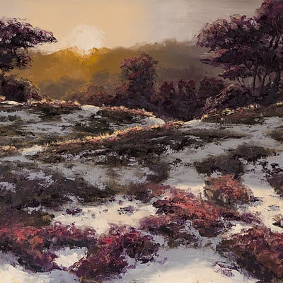 "Sundown on the heath -for sale 15.7x19.6"" (40x50cm)"