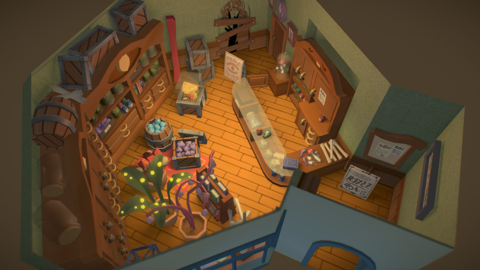 New lighting model is easier on the eyes, but the shop now feels more cozy instead of evil.