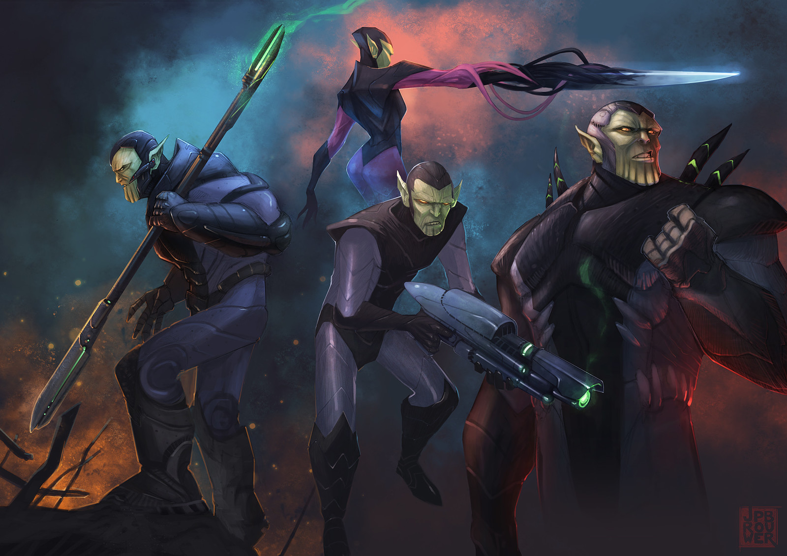 Skrull character and weapon concepts