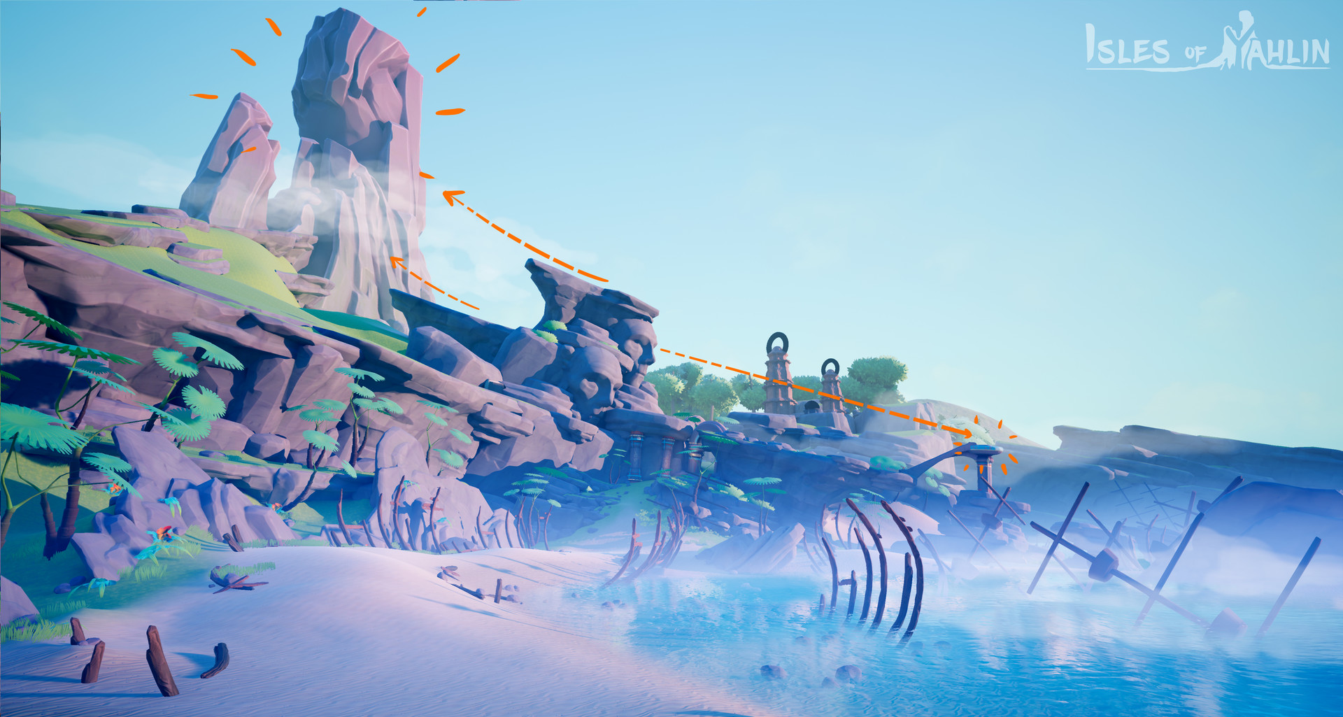 Orange: secondary visual cues. The mountain is the eventual main goal for the player to go to, and plays an important role in the story. The platform on the right is a vantage point. The player will need to visit this area to be able to open a gate later.