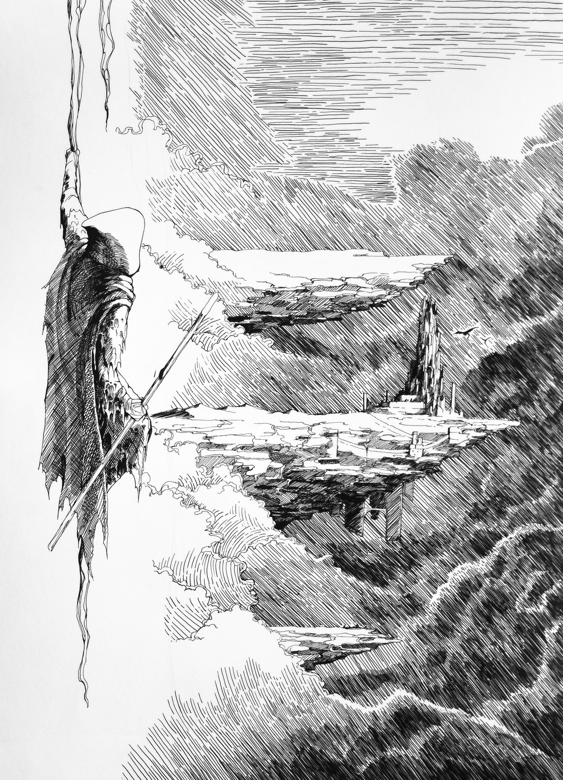 Lee Dabeen. On the Fall. 2018. Pen on paper, 545 x 394 mm.