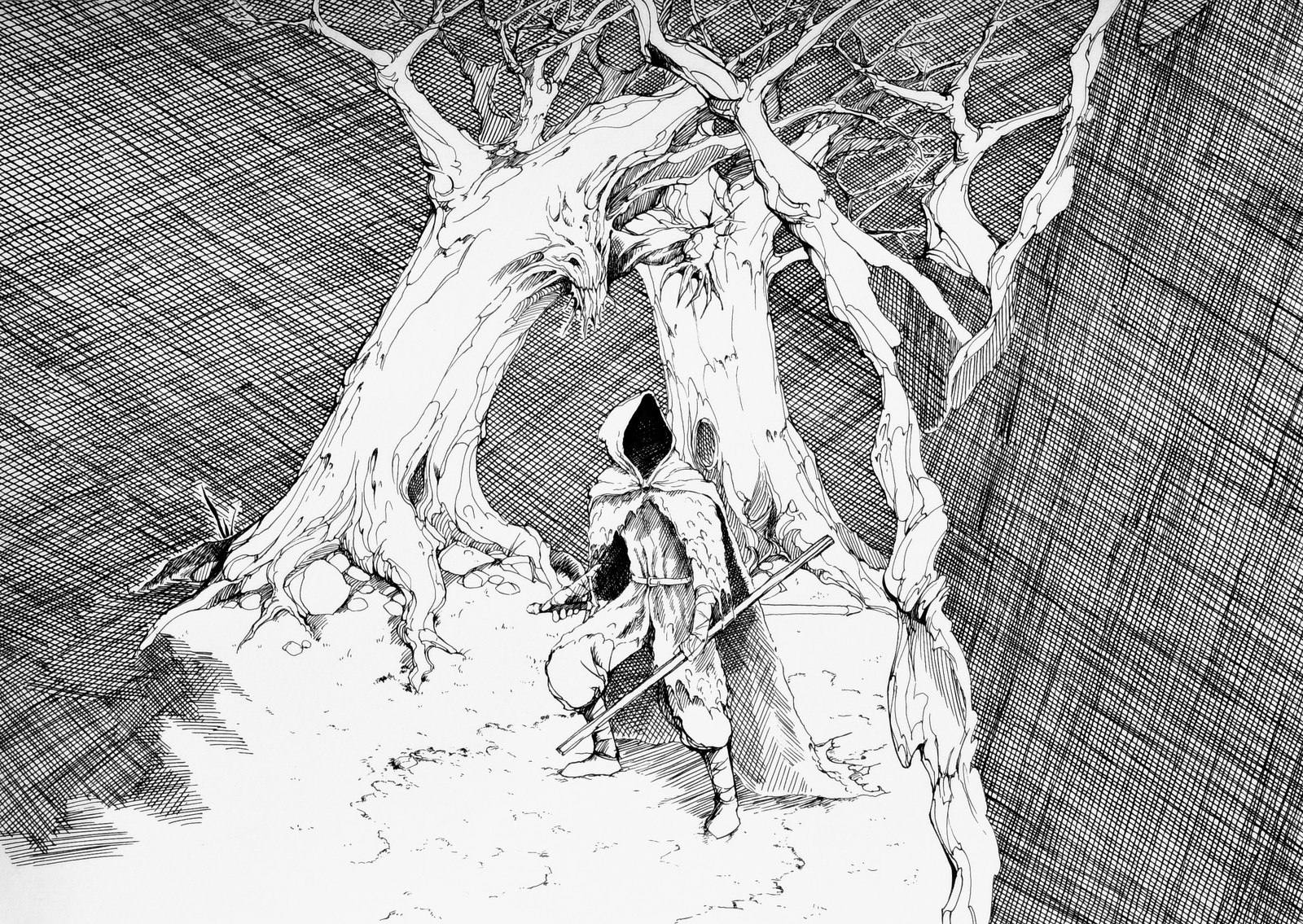 Lee Dabeen. Forest Alive. 2018. Pen on paper, 320 x 450 mm.
