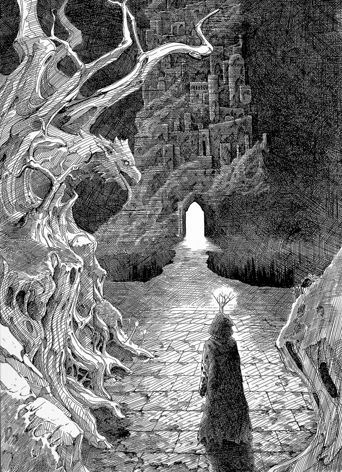 Lee Dabeen. Night Awakened. 2018. Pen on paper, 545 x 394 mm.