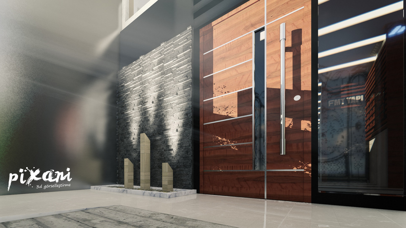 An entrance and landscape and 1st floor interior design for FMT Yapi.  And also kitchens and bathrooms are designed too.  Architect & CG Artist : Serdar Çakmak rendered and designed in Pixani Studios www.pix-ani.com