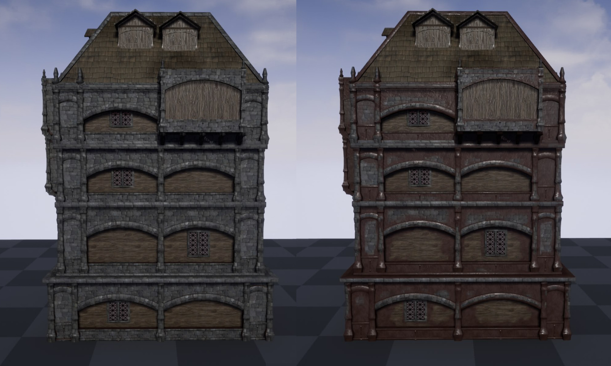 Dirt is applied by using the precalculated AO and height information to break up the tiling textures