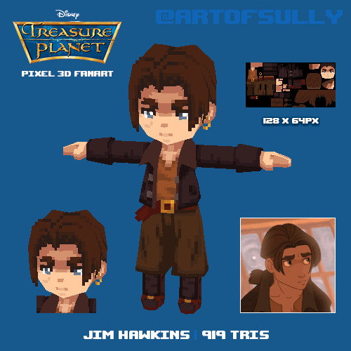 Jim Hawkins ('Treasure Planet' lowpoly pixel fanart)