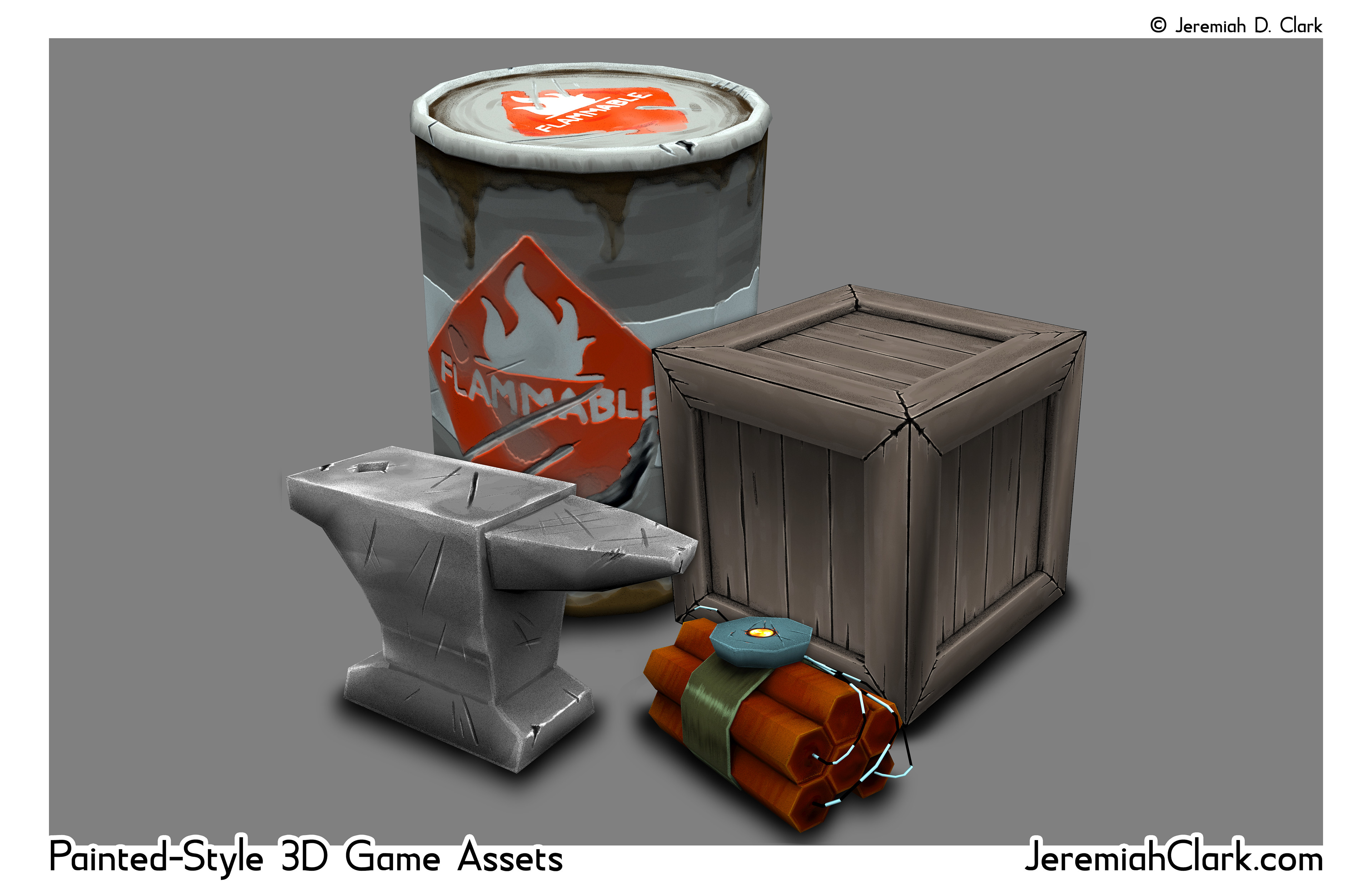 Hand-painted style game assets.