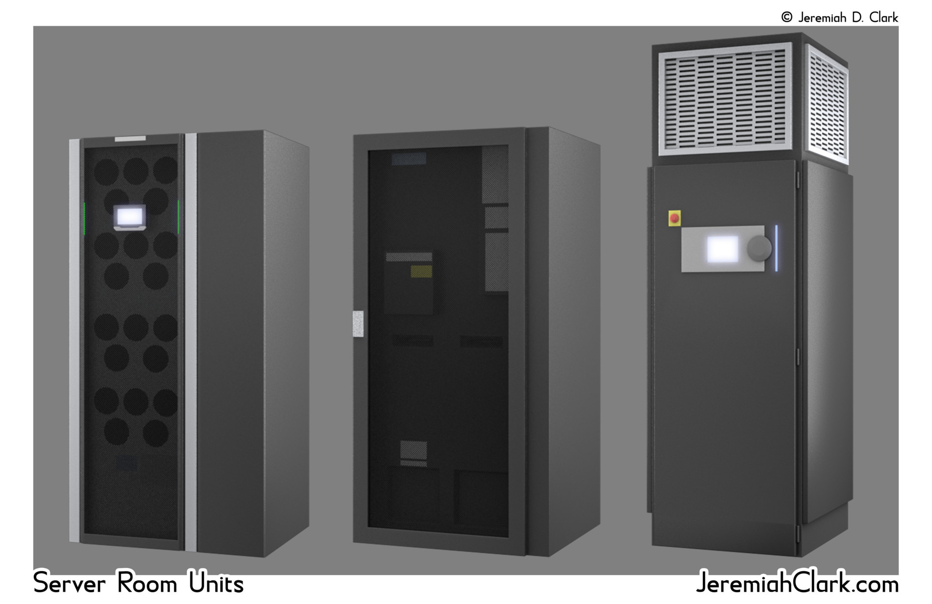 Detailed renders of some of the server cabinets.